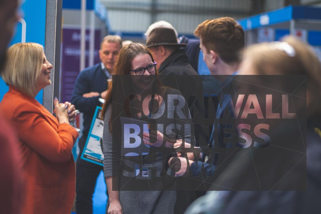 Happy visitors and exhibitors networking and making business relationships at Cornwall Business Show